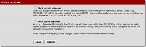 Vérification paramètrage Firewall sur l'interface WAN