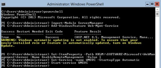 Windows Core remote IIS